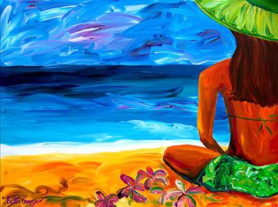 Woman On Beach Art Print by Beth Cooper