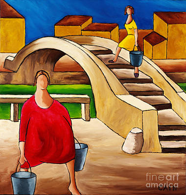 Woman On Bridge Art Print by William Cain