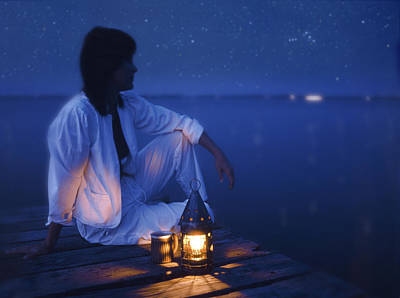Oil Lamp Photograph - Woman On Dock At Night by Bryan Allen