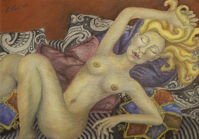 Woman On My Couch Art Print by Claudia Cox