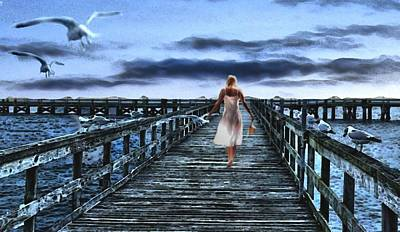 Mixed Media - Woman On Pier by Terence Morrissey