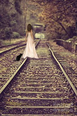 Woman On Railway Line Art Print