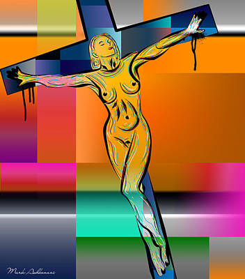 Religious Drawings Digital Art - Woman On The Cross by Mark Ashkenazi