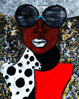Art Print featuring the painting Woman On The Go by Tarra Louis-Charles