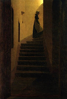 Moody Painting - Woman On The Stairs by Philip Ralley