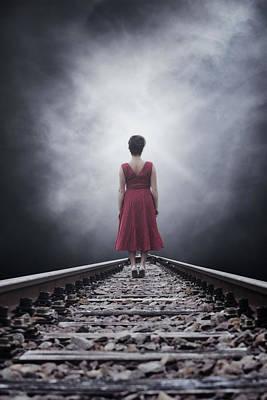 Haze Photograph - Woman On Tracks by Joana Kruse