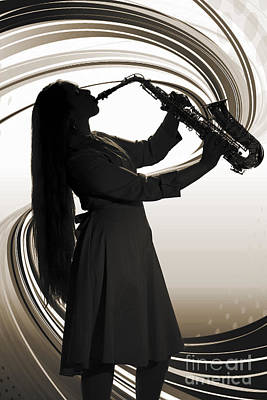 Band Photograph - Woman Or Girl Playing A Sax In Silhouette Sepia 3140.01 by M K  Miller