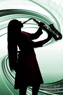 Photograph - Woman Or Girl Playing Saxophone In Silhouette Color 3140.02 by M K Miller