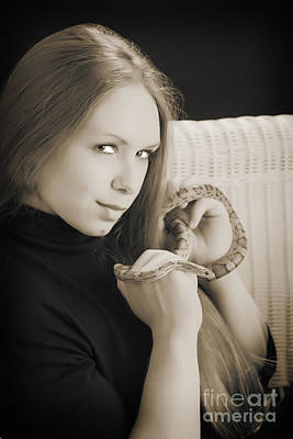 Photograph - Woman Or Girl With Snake Photograph In Sepia 3377.01 by M K Miller