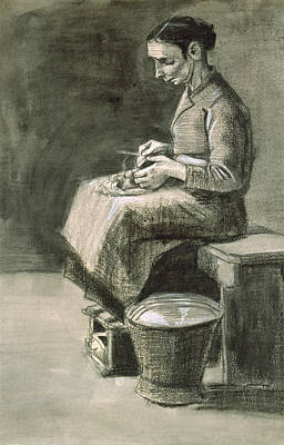 Pastel Drawing Drawing - Woman Peeling Potatoes, 1882 by Vincent van Gogh