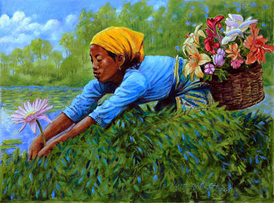 Painting - Woman Picking Flowers by John Lautermilch
