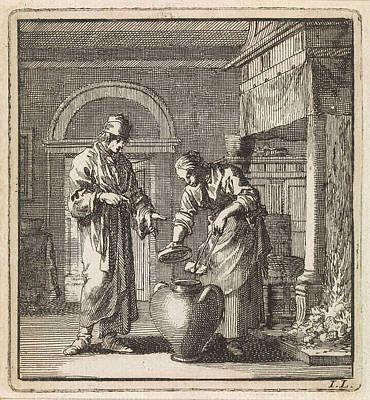 Ceramics Drawing - Woman Places A Coal In A Pot, Print Maker Jan Luyken by Jan Luyken And Wed. Pieter Arentsz & Cornelis Van Der Sys Ii