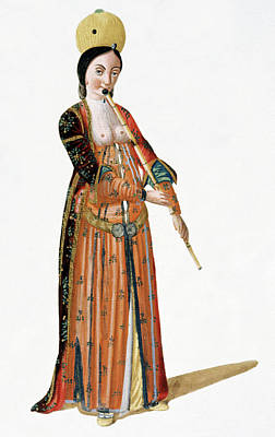 Woman Playing A Flute Art Print by Cci Archives
