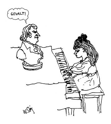 Beethoven Drawing - Woman Playing Piano by William Steig