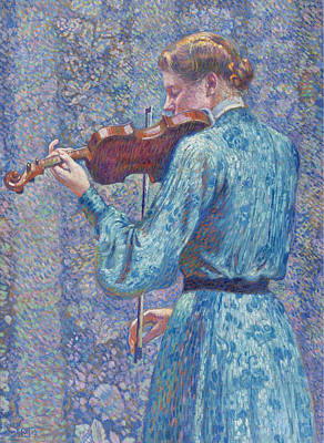 Woman Playing Violin Painting - Woman Playing Violin by Theo van Rysselberghe