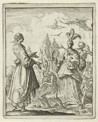Deadly Drawing - Woman Pointing To Richly Dressed Woman Who Is Led by Jan Luyken And Pieter Arentsz Ii