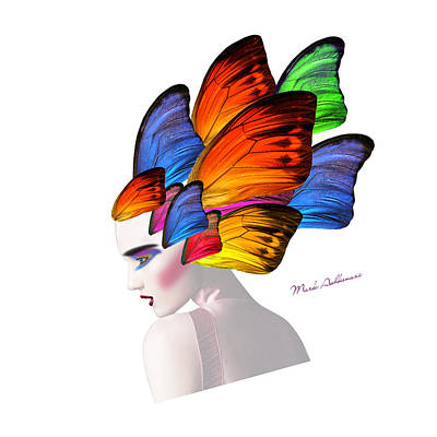 Woman Portrait Butterfly  Art Print