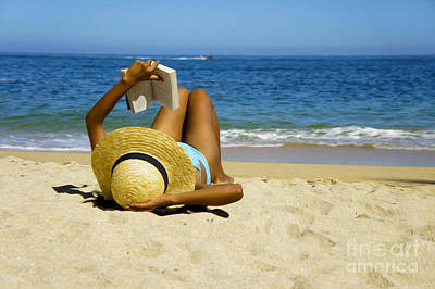 Pleasure Photograph - Woman Reading A Book  by Aged Pixel