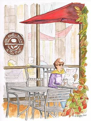 Woman Reading A Newspaper In The Coffee Bean - Riverside-ca Print by Carlos G Groppa