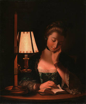 Shawl Painting - Woman Reading By A Paper-bell Shade, Henry Robert Morland by Litz Collection