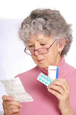 Woman Reading Medicine Instructions Art Print
