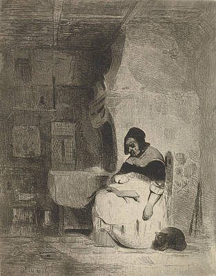 Marius Drawing - Woman Reading, Petrus Marius Molijn by Petrus Marius Molijn
