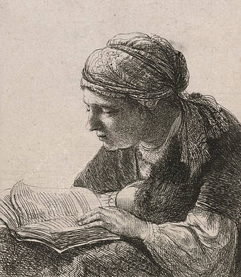 Etching Drawing - Woman Reading by Rembrandt