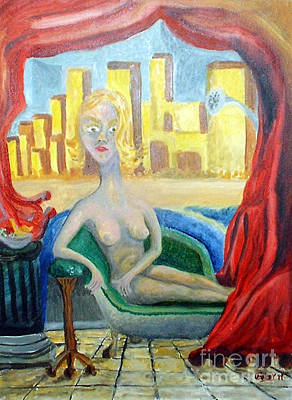 Shower Head Painting - Woman Reclining Raphaelistically  by Timothy  Foley