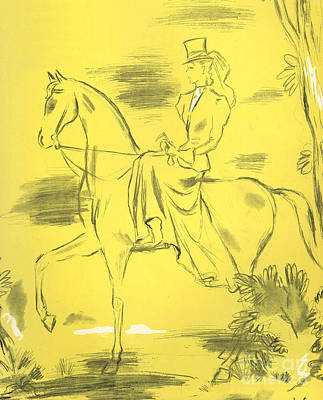 30s Drawing - Woman Riding 1939 1930s Uk Riders by The Advertising Archives