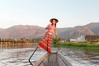 Oar Photograph - Woman Rowing Boat Through Floating by Martin Puddy