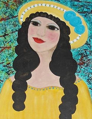 Folk Art Painting - Folk Art Renaissance Angel  by Micki Rongve