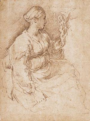 Hatching Photograph - Woman Seated Holding A Statuette Of Victory, C.1524 Pen & Ink On Paper by Parmigianino