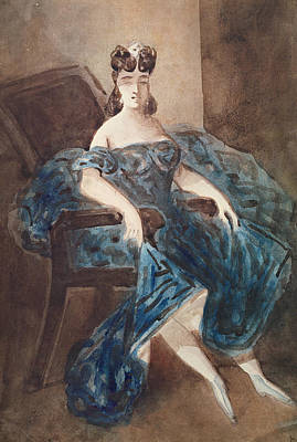 Woman Seated In An Armchair Wc On Paper Art Print by Constantin Guys