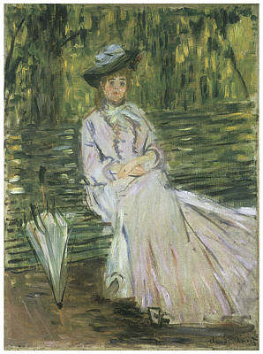 Woman Seated On A Bench Art Print by Claude Monet