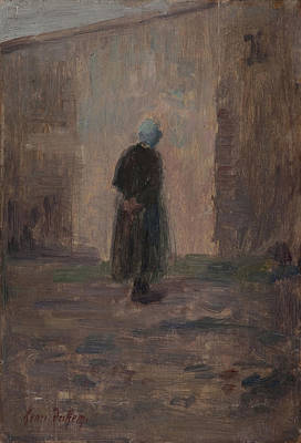 Lonesome Painting - Woman Seen From Behind Standing Before A Wall  by Henri Duhem