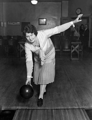 Photograph - Woman Sets Bowling Record by Underwood Archives