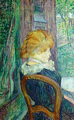 Sit-ins Painting - Woman Sitting In A Garden by Henri de Toulouse-lautrec