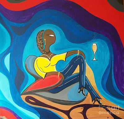 Woman Sitting In Chair Surrounded By Female Spirits Art Print by John Lyes