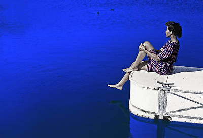 Photograph - Woman Sitting On A Dock by Kellice Swaggerty
