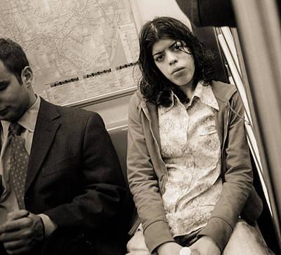 Woman Sitting On A Subway And Staring, 2004 Bw Photo Art Print
