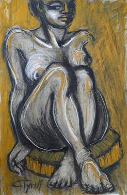 Female Painting - Woman Sitting On Round Chair 2- Female Nude  by Carmen Tyrrell