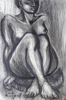 Female Painting - Woman Sitting On Round Chair - Female Nude by Carmen Tyrrell