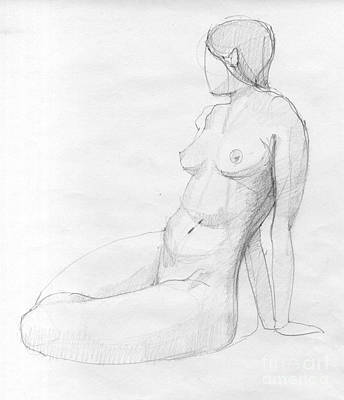 Hand Crafted Drawing - Woman Sketch by Peut Etre
