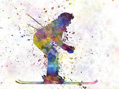 Woman Skier Skiing Art Print by Pablo Romero