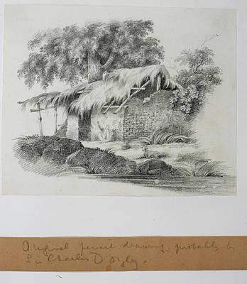 Woman Spinning Outside Her House Print by British Library