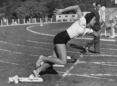 Photograph - Woman Sprinter by Underwood Archives