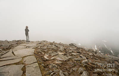 Woman Standing In Fog On Peak Art Print by Arletta Cwalina