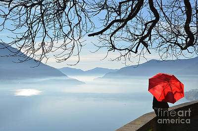 Woman Standing With A Red Umbrella Art Print by Mats Silvan