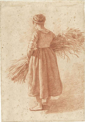 Wood Grain Drawing - Woman Standing With A Wood Grain, Attributed To Abraham by Quint Lox