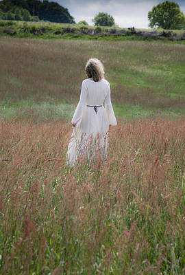 Woman Stands On A Meadow Art Print by Maria Heyens